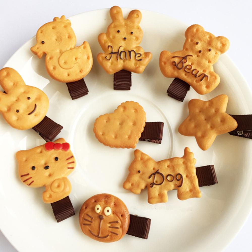 Cute Cartoon Simulation  Cookie Bear Hairpin Girls Kids Duckbill Hair Clips  Cookies  Headdress