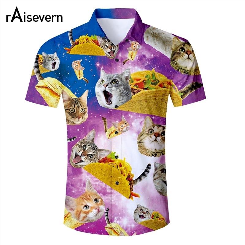 Raisevern Engraçado Mens Camisa Tacos Gato 3d Impressão Camisa Aloha Havaiano Mens Verão Tops Botão Partido de Feriado Beachwear Dropship
