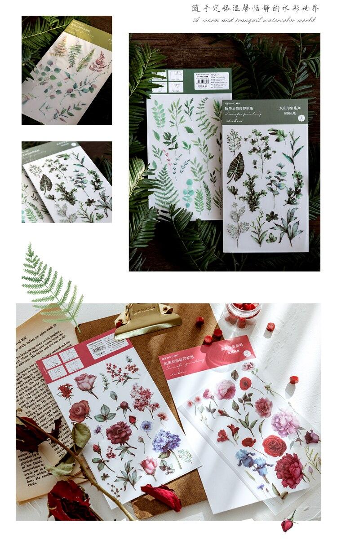 aquarela impressão diário decorativo móvel adesivos scrapbooking diy artesanato adesivos