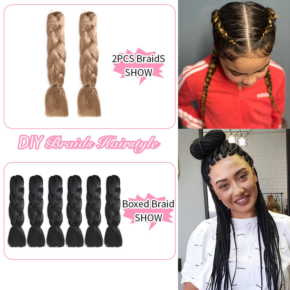 SOKU Synthetische Haar Extensions Jumbo Zöpfe 24 zoll Lange Schlösser Flechten Schwarz Haar Häkeln Boxed Geflecht Für Treccine Afrikanische Frauen