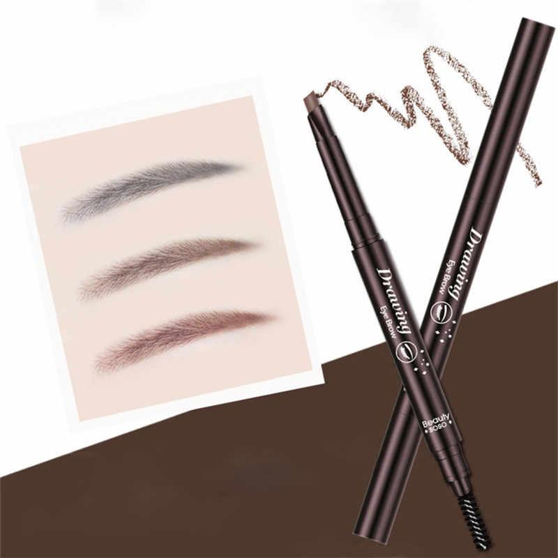 Su geçirmez kaş kalemi kadınlar için çift başlı göz kaş kalemi kaş fırçası ile makyaj kozmetik güzellik araçları 5 renkler