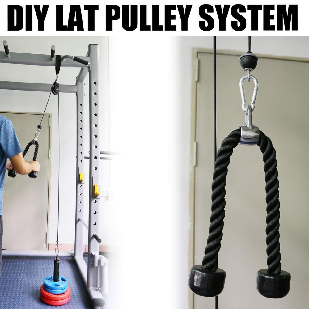 2 Gym Machine Attachments Tricep Pressdown Bar /& Revolving Straight Bar