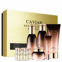 Caviar Skin Care Set 10PCS Facial Cleanser Toner Lotion Eye Cream Serum Essence Revitalizing Hydrating Moisturizing Cosmetics Q