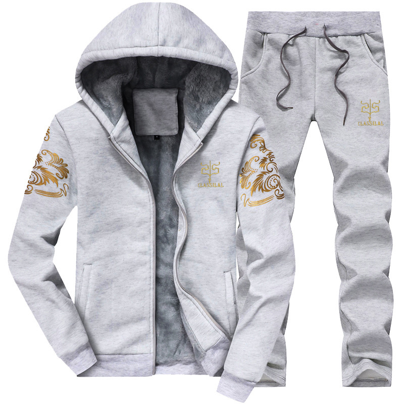 Winter New Style Sports Sets Plus Velvet Maserati Y7 Set Casual Loose-Fit MEN'S Hoodie Hooded Coat Pants Set