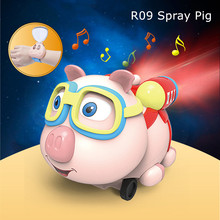 Hot New Cute Funny Toy Magical Magic R09 2.4G Infrared Follow Spray Music Function Pig Smart Robots RC Watch Car Birthday Gift