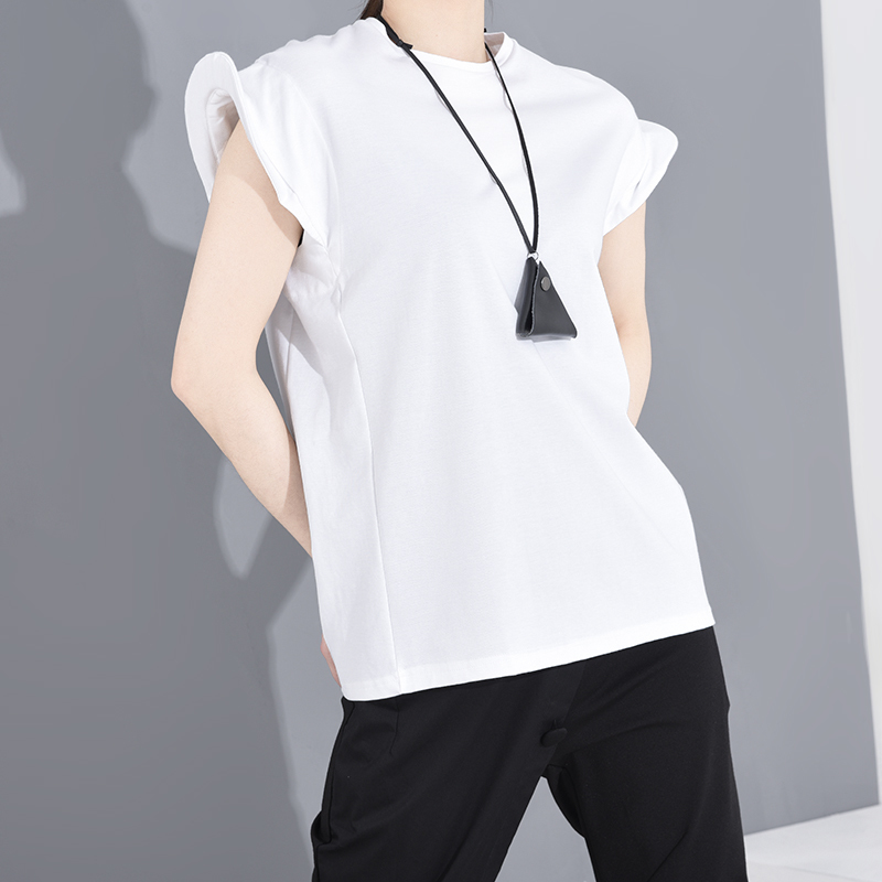 [EAM] Women Black Shaped Split Jooint Big Size T-shirt New Round Neck Short Sleeve Fashion Tide  Spring Summer 2020 1S68301 6