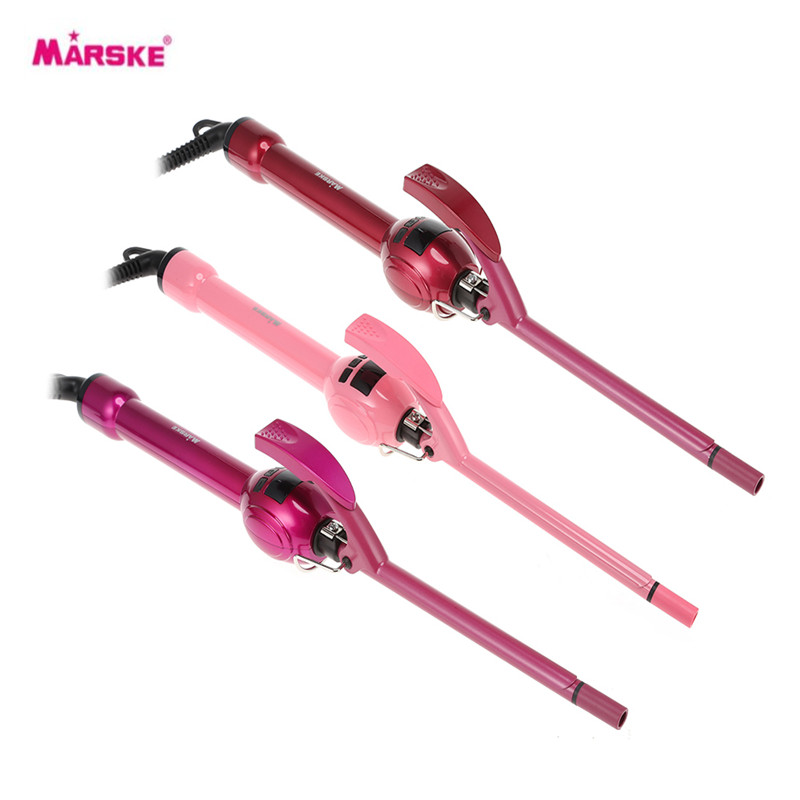 MARSKE LCD Display Curling Iron Professional Hair Curler Rotation Curl Wand Stick Roller Magic Ceramic Hairdressing Styling Tool