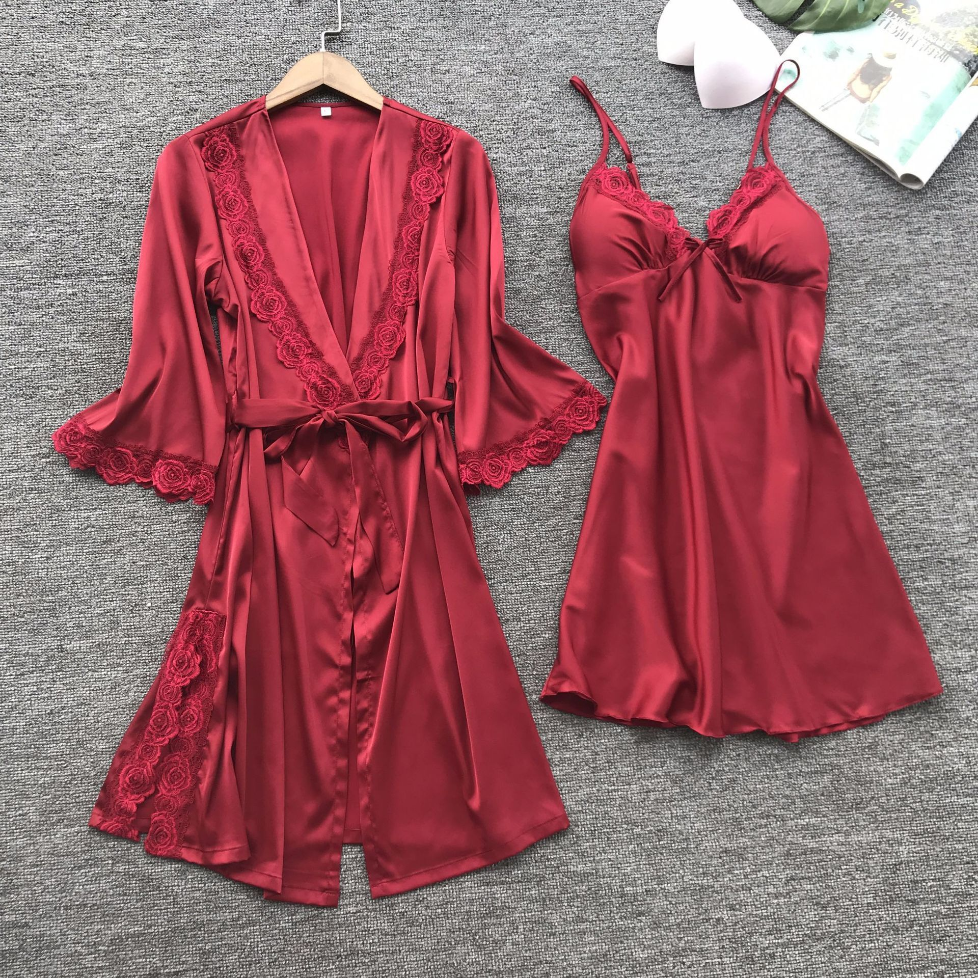 Sexy Women Pajamas Sets Satin Sleepwear Silk 2 Pieces Nightwear Robe Pyjama Spaghetti Strap Lace Nightgown Lounge Pijama Set