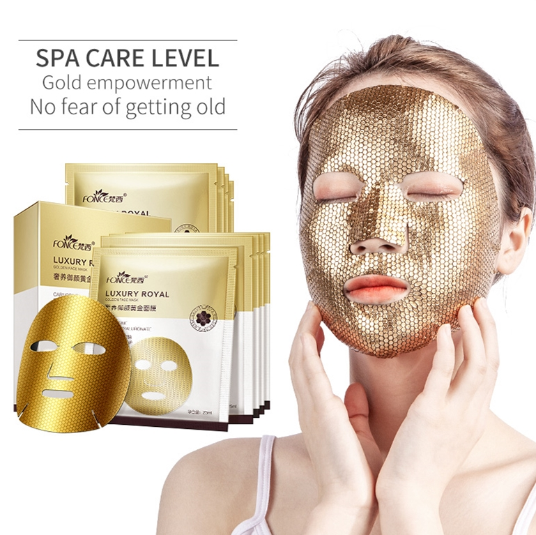 FONCE Gold Mask 5 Pieces Moisturizing Lift Stay Up Late Repair Gold Foil Fades Fine Lines Anti-wrinkle Facial Mask
