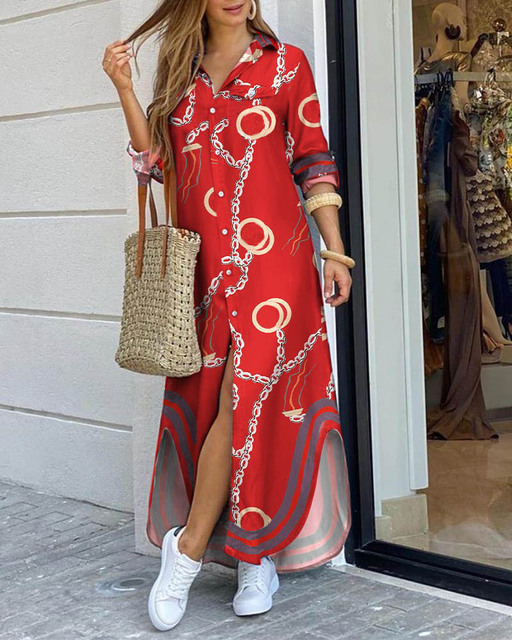 CN975 Fashionable Shirt-style Button Dress Ladies Casual Long Street Dress Large Size Loose Home Commuter Print Dress Women 5