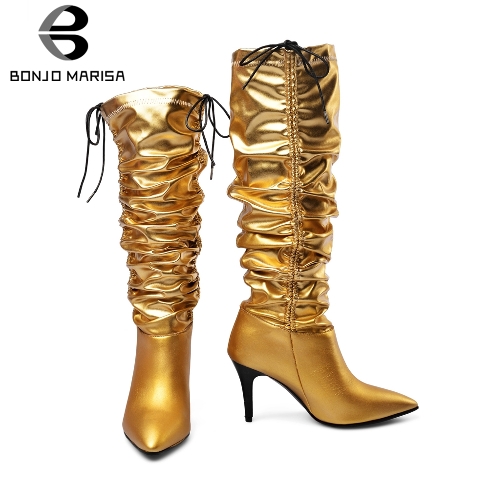 BONJOMARISA New Autumn Luxury Brand Hot Sale Genuine Leather mid-claf Boots Women 2019 Pleated High Heel Shoes Woman 34-43