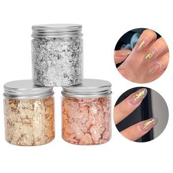 3 uds. De hojas de papel de aluminio brillante para decoración de uñas, copos de papel de aluminio brillante para manicura, pegatinas de maquillaje corporal con lentejuelas doradas y plateadas