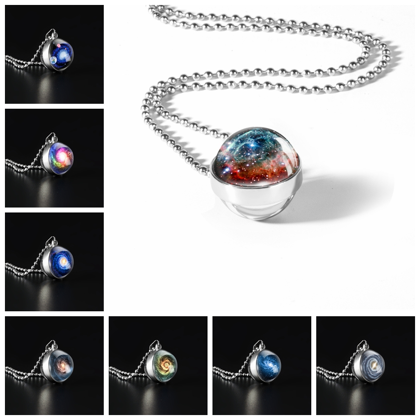 Galaxy Double Sided Necklaces Universe Outer Space Cabochon Glass Pendant Necklaces Jewelry Popcorn Chain For Women Men