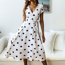 Shirt Vestidos Office Polka Dot Vintage Autumn Dresses Women