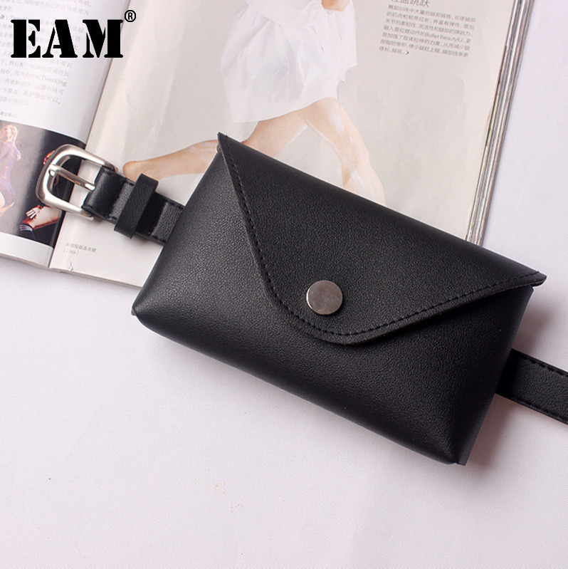 [EAM] 2019 New Autumn Winter Fashion Tide Multi-color Pu Leather Moni-bag Woman All-match Sequined Package Belt S430