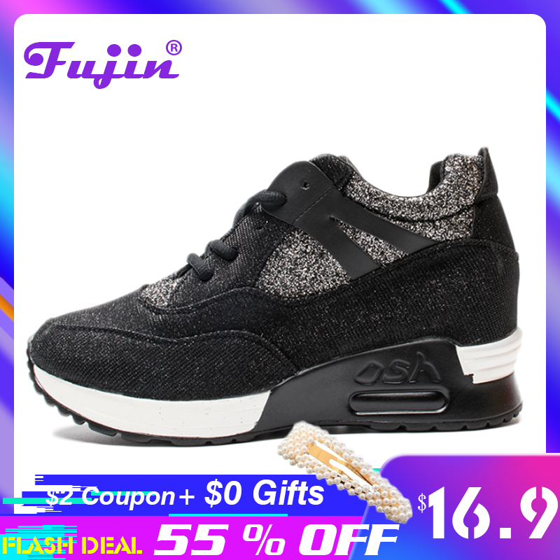 Fujin Wedge Platform Women Casual Shoes Summer  Wedge Sneakers Dropshipping Luxury Reflective Cloth Shine Shoes Female Sneakers