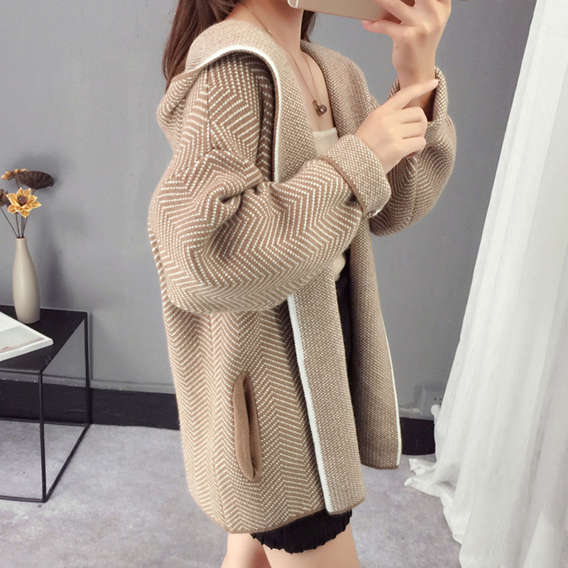 2019 Women Hooded Knitted Cardigan Outwear High Quality Autumn Open Stitch Two Pockets Female Sweater