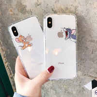 NOUVEAU!! Coque de téléphone dessin animé pour iphone X XS Max XR mignon chat Tom couverture pour iphone 8 7 6 6S Plus Silicone souple Transparent étui Transparent
