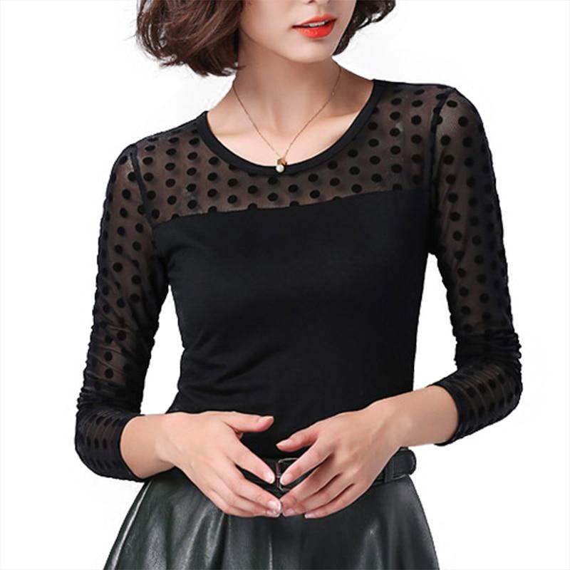 Soperwillton Women Blouse Shirt Lace 2020 Fashion O-neck Long Sleeve Black korean Shirts Casual Summer Blouses Ladies Tops #B748