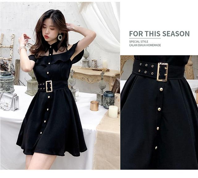 ZAWFL Elegant Women Lace Black Ruffle Mesh Splice Turn-Down Collar Dress Casual A Line Mid Length Dress 2020 Summer 4