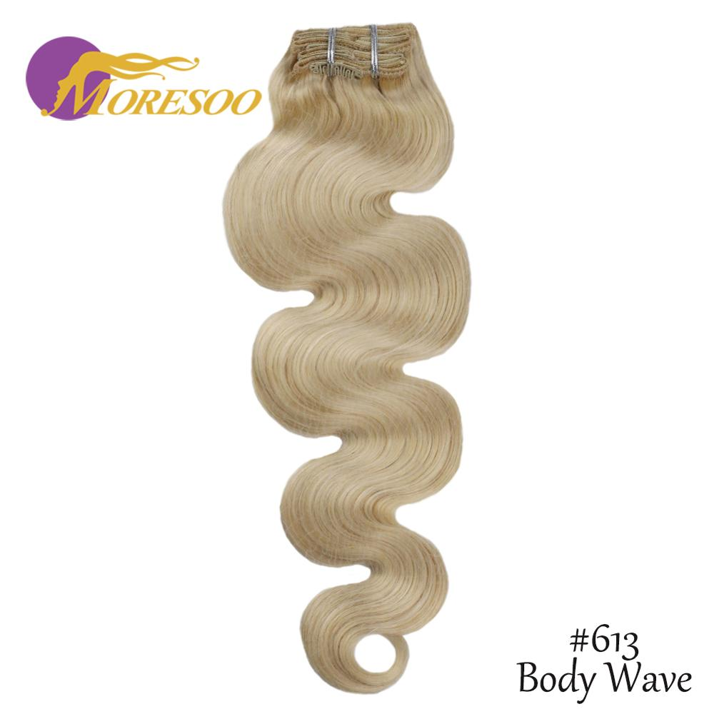 Moresoo Wavy Clip In Human Hair Extensions Machine Remy Hair Clip Ins 7PCS 100G 8-24 Inch Brazilian Hair Full Head Natural Hair