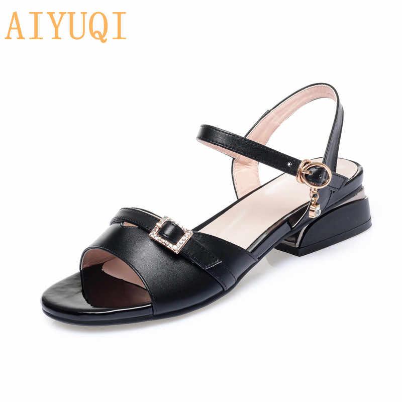 Женские римские сандалии AIYUQI, удобные летние сандалии на толстом каблуке, большие размеры 41, 42, 43, 2020