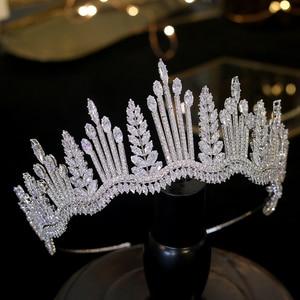 Image 5 - New luxury princess crystal crown Tiara crystal bride crown CZ wedding headband large wedding hair accessories
