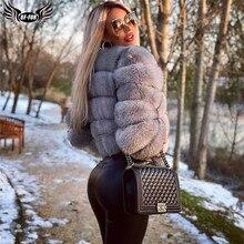 Натуральная женская шуба из натурального Лисьего меха, зимняя Роскошная верхняя одежда длиной 50 см, оптовая продажа, женская меховая куртка из натурального Лисьего меха, короткие пальто