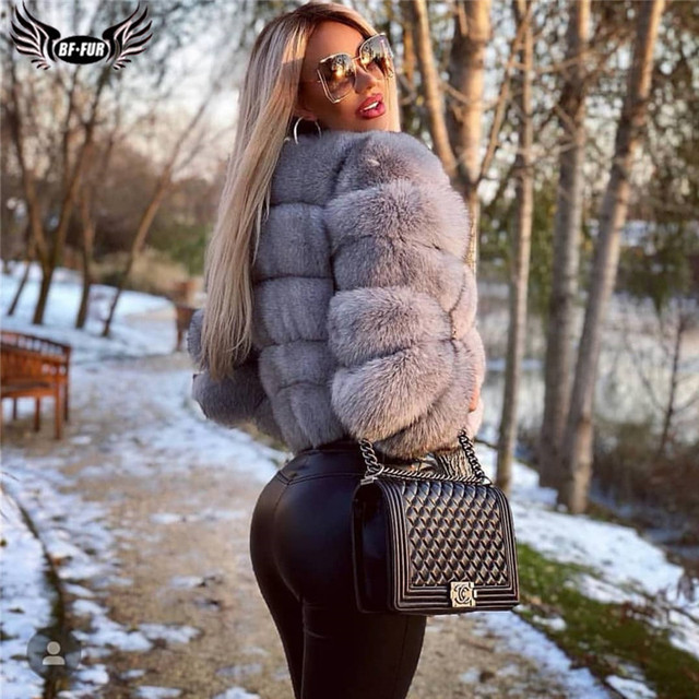 ผู้หญิงธรรมชาติจริงFoxขนสัตว์Winter Outwear 50ซม.ยาวWholeskinของแท้Fox Fur Jacketผู้หญิงเสื้อขนสัตว์เสื้อคลุมสั้น