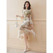 Francês vestido floral primavera vestido 2021 novo chiffon high-end socialite suave magro adulto senhora ol vestidos com cinto