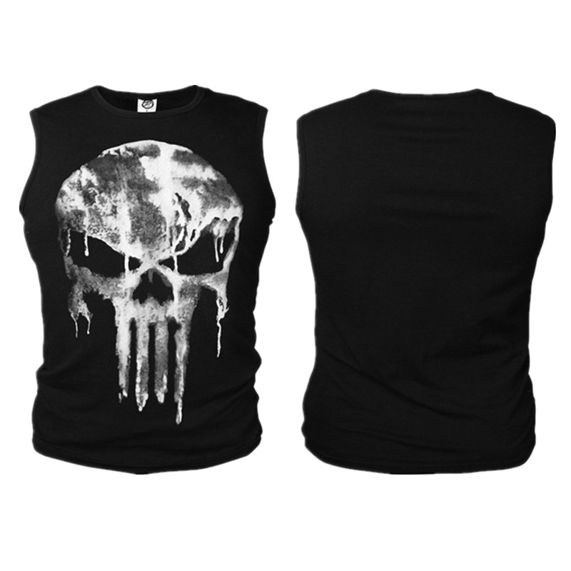 The Punisher Cosplay Costumes Skull Vest Tank Top Daredevil T-shirt Cotton T Shirt