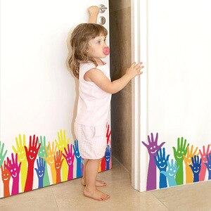 Красочный смайлик отпечаток руки стикер на стену для детской комнаты Baseboard украшения «сделай сам» мультфильм Декор на стену ПВХ наклейка на...