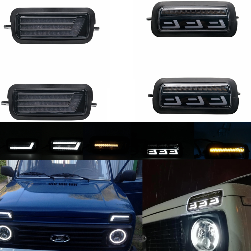 Pair Car Styling Accessories LED Daytime Running Lights for Lada Niva 4x4 1995 + with Running Turn Signal Light Lamp DRL image