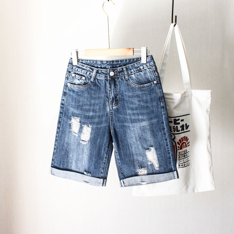 Summer Plus-sized WOMEN'S Dress Cowboy Shorts 200 Chubby Size High-waisted Loose-Fit Crimping With Holes Shorts