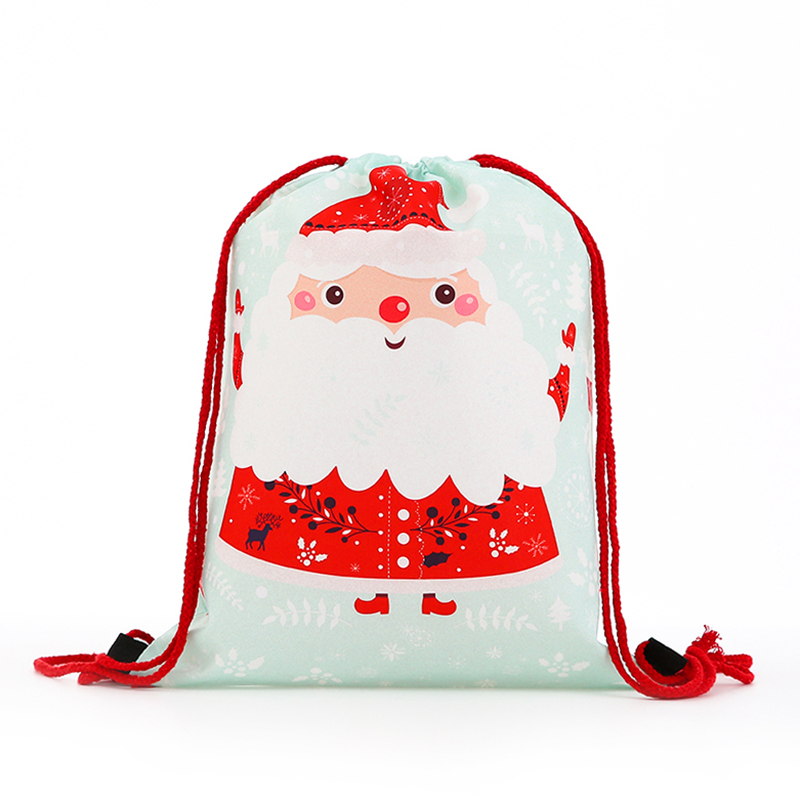 New Fashion Women Mini Drawstring Christmas 3D Printing Travel Softback Bags Men Mochila Letter Drawstring Bag Girs Factory Tie