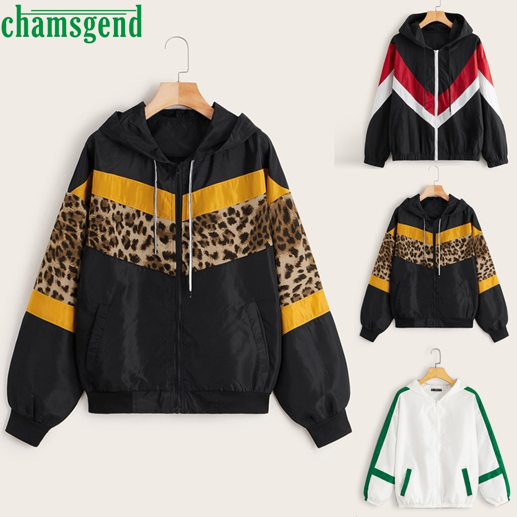 CHAMSGEND Jacket Leopard Fashion Outwear Thin Skin Suits Zipper Long Sleeve Hooded Jacket Coat Casaco Feminino Manteau Wholesale