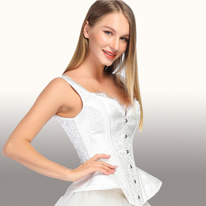 Image 2 - Victorian Corset Elegant Women Steampunk Overbust Corsets Lace Floral Jacquard Wedding Party Bustier Tops Slimming Costume