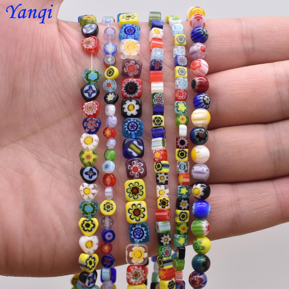 4 6 8 10mm Stripe Lampwork Glass Beads For Jewelry Making Bracelet DIY Jewelry Findings Loose Spacer Glass Round Beads Wholesale