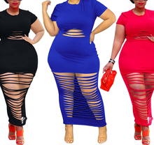 AYES Plus Size 4xl Casual Dress Women Clothes Short Sleeve Solid Hollow Out Bodycon Maxi Dresses Woman Sexy Large size dress
