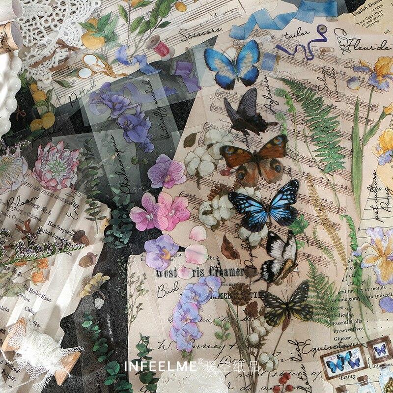 6Sheets/pack Retro Plant Flower Rose Butterfly PET Stickers Ablum Scrapbooking Label Sticker School Supplies Bullet Journal n715