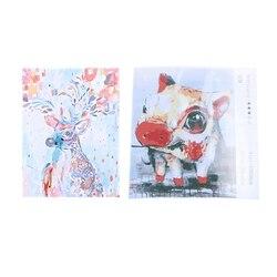 2 набора 16X20 дюймов DIY цифровые картины маслом краски по номерам комплект домашнего декора, Радуга олень и свинья