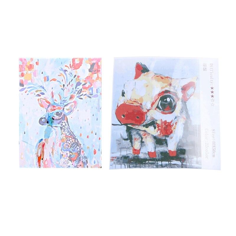 2 Set 16X20 Inch DIY Digital Oil Paintings Paint By Number Kit Home Decor, Rainbow Deer & Pig