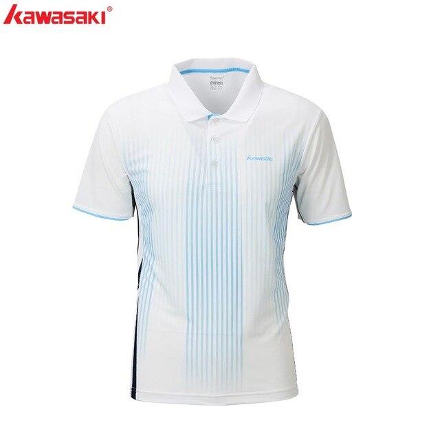 Kawasaki vêtements de sport Badminton sport hommes chemise blanche Sweat respirant col rabattu court T-shirts ST-R1202 ST-R1203