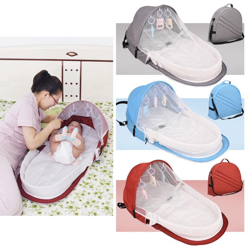 Portable Collapsible Crib With Toy Crib Travel Sunscreen Mosquito Net Breathable Baby Sleeping Basket Baby Gift Christmas Gift