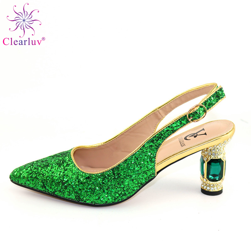 Latest Nigerian Women Wedding Shoes Decorated With Rhinestone HEEL Shoe For Women Ladies Shoes Summer Slippers Good Quality