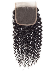 Ariel Curly Closure Human-Hair Transparent Lace Kinky 20inch Middle-Part 22 4x4