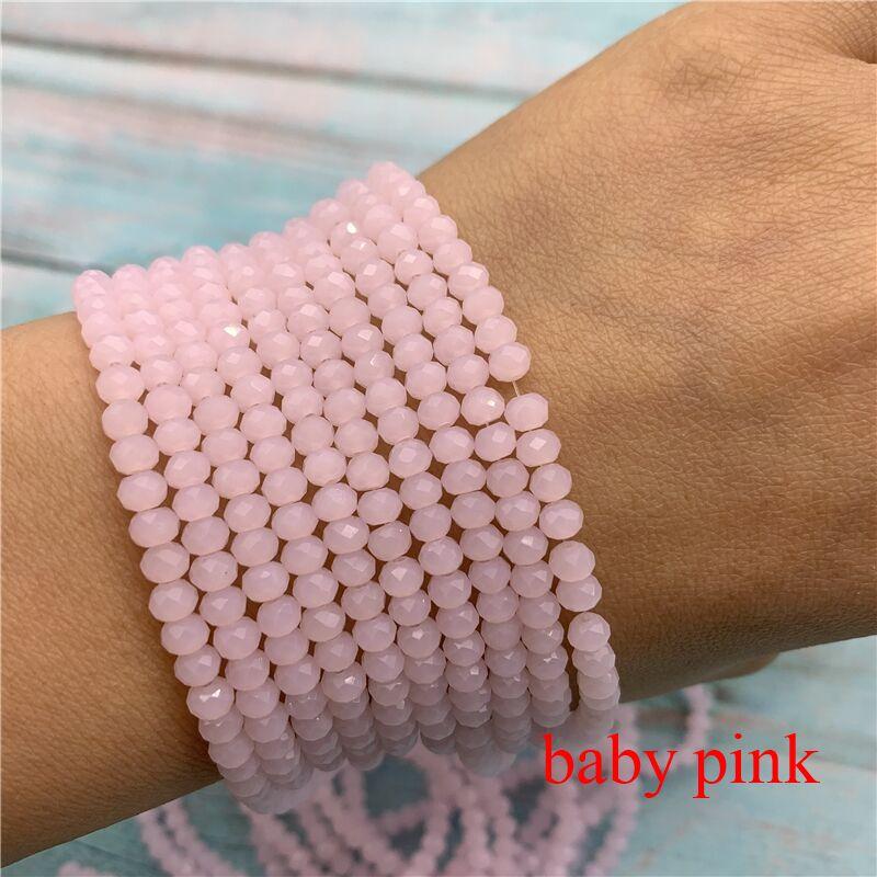 40 цветов 1 нить 2X3 мм/3X4 мм/4X6 мм хрустальные бусины rondelle хрустальные бусины стеклянные бусины для самостоятельного изготовления ювелирных изделий - Цвет: Baby Pink