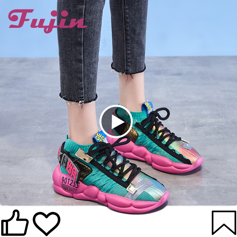 Fujin Women Vulcanized Shoes Summer Women's Sneaker 2020 Spring Summer Knitting Breathable Shoe Chunky Platform Sneakers Soft 1