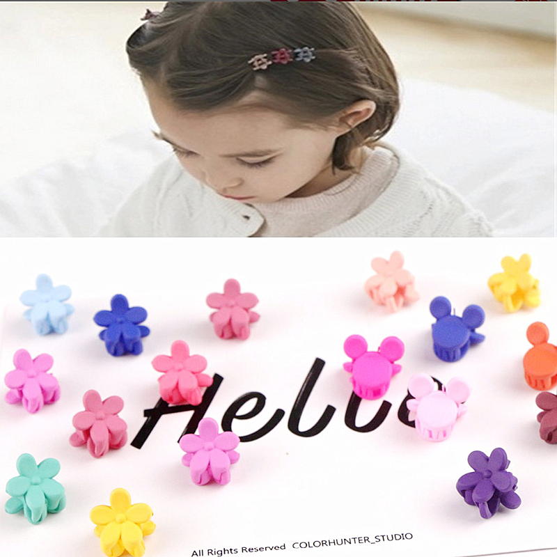 10pcs Wholesale Price Baby Girls Small Hair Claw Cute Candy Color Flower Small Flowers Gripper Headwear Girl Hair Accessories