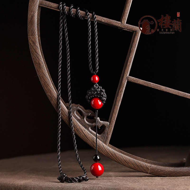 BYSPT sztuczny wiązany czerwony kamień koraliki kamień długi kutas Retro etniczny naszyjnik z koralików łańcuchy do swetrów